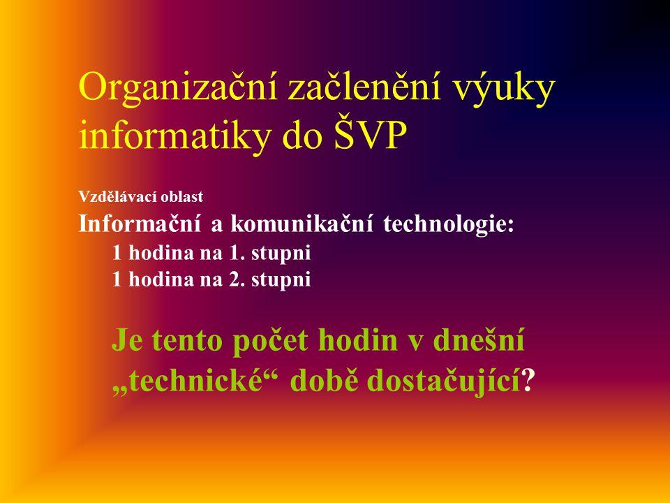 Organizační začlenění výuky informatiky do ŠVP Vzdělávací oblast Informační a komunikační technologie: 1 hodina na 1.