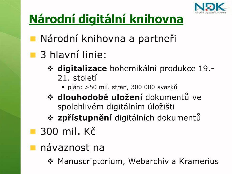 Národní digitální knihovna Národní knihovna a partneři 3 hlavní linie:  digitalizace bohemikální produkce 19.- 21.