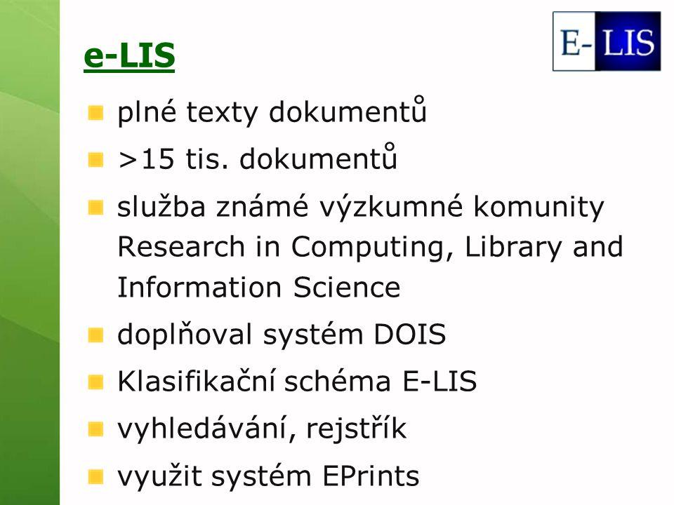 e-LIS plné texty dokumentů >15 tis.