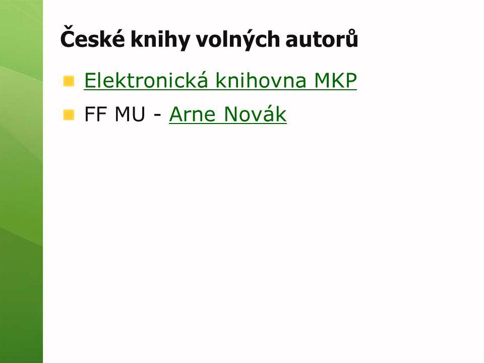 České knihy volných autorů Elektronická knihovna MKP FF MU - Arne NovákArne Novák