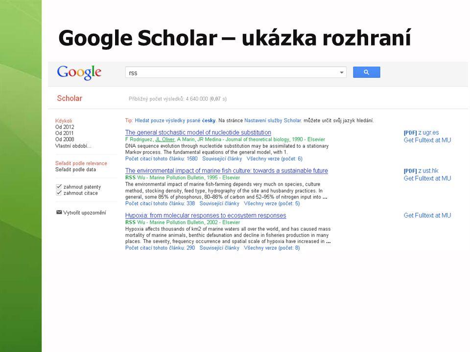 Google Scholar – ukázka rozhraní