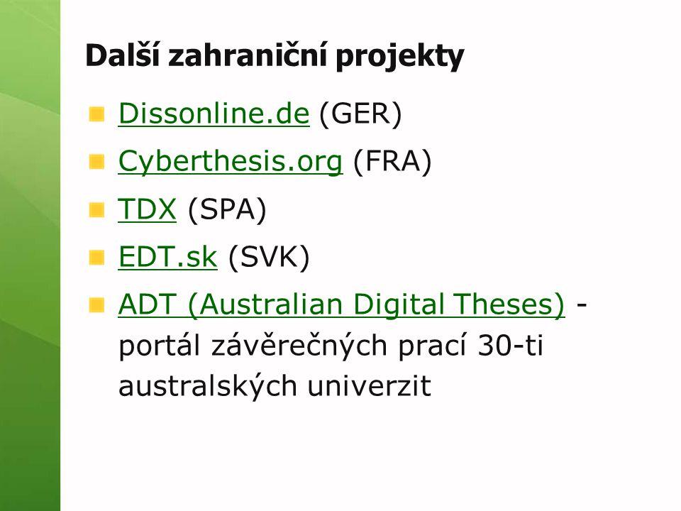 Další zahraniční projekty Dissonline.deDissonline.de (GER) Cyberthesis.orgCyberthesis.org (FRA) TDXTDX (SPA) EDT.skEDT.sk (SVK) ADT (Australian Digital Theses)ADT (Australian Digital Theses) - portál závěrečných prací 30-ti australských univerzit