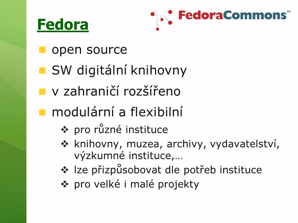 Fedora open source SW digitální knihovny v zahraničí rozšířeno modulární a flexibilní  pro různé instituce  knihovny, muzea, archivy, vydavatelství, výzkumné instituce,…  lze přizpůsobovat dle potřeb instituce  pro velké i malé projekty