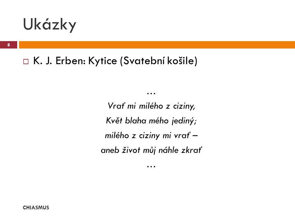  K. J. Erben: Kytice (Svatební košile) … Vrať mi milého z ciziny, Květ blaha mého jediný; milého z ciziny mi vrať – aneb život můj náhle zkrať … Ukáz