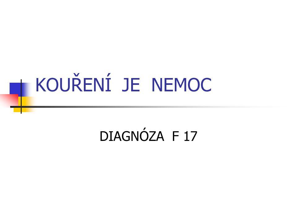 KOUŘENÍ JE NEMOC DIAGNÓZA F 17