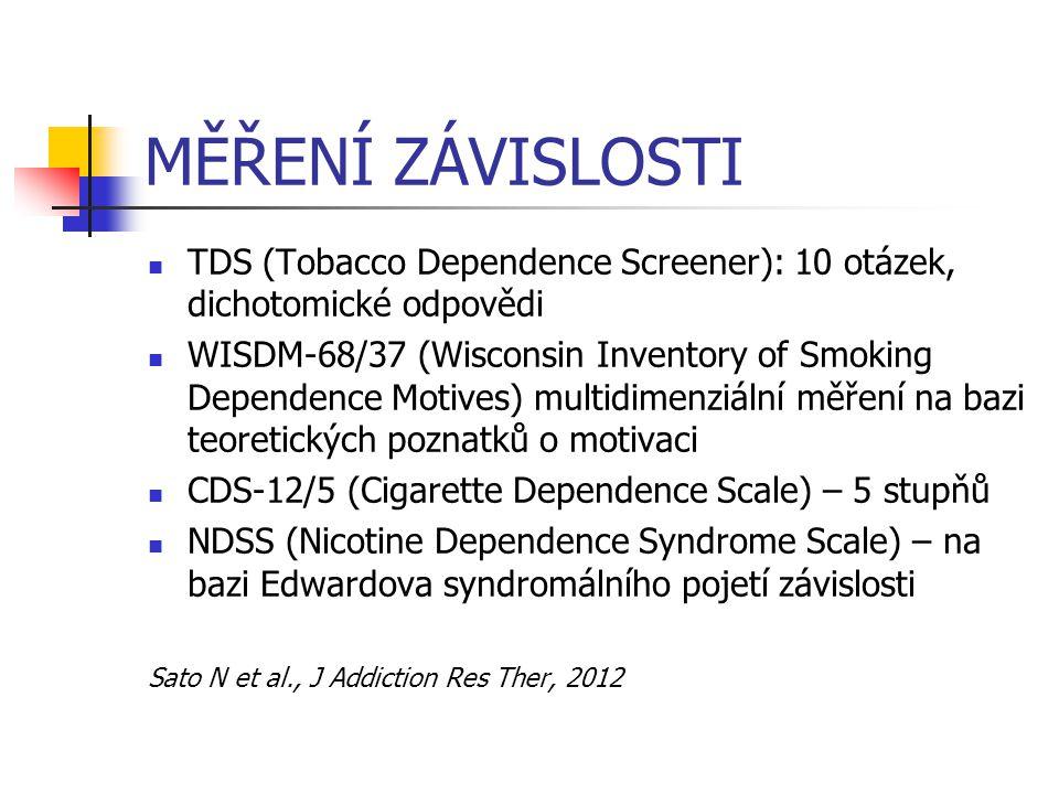 MĚŘENÍ ZÁVISLOSTI TDS (Tobacco Dependence Screener): 10 otázek, dichotomické odpovědi WISDM-68/37 (Wisconsin Inventory of Smoking Dependence Motives)