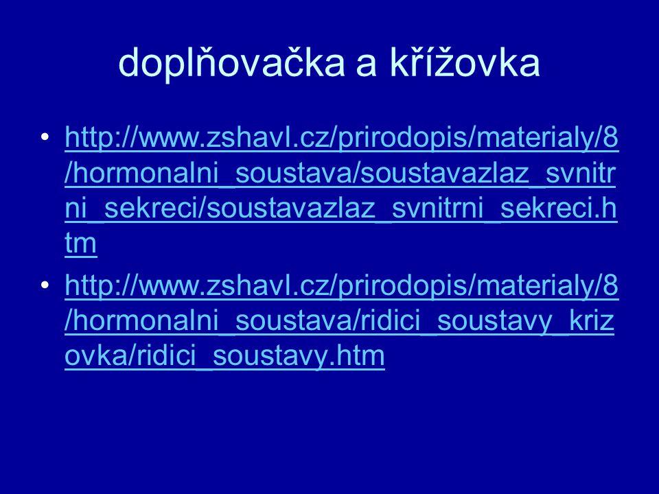 doplňovačka a křížovka http://www.zshavl.cz/prirodopis/materialy/8 /hormonalni_soustava/soustavazlaz_svnitr ni_sekreci/soustavazlaz_svnitrni_sekreci.h
