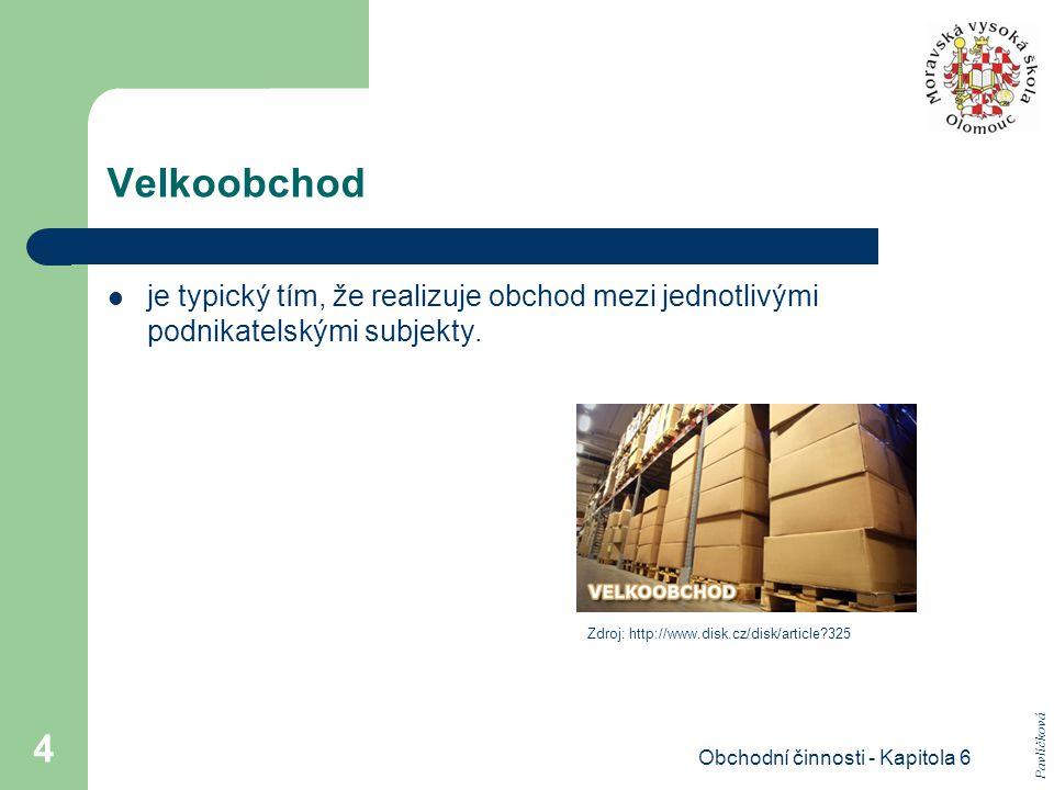 Obchodní činnosti - Kapitola 6 4 Velkoobchod je typický tím, že realizuje obchod mezi jednotlivými podnikatelskými subjekty. Pavlíčková Zdroj: http://