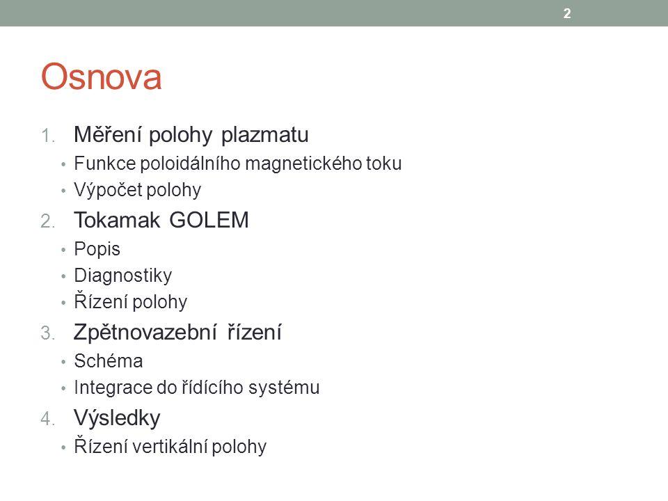 Poloidální cívky pro řízení polohy 13 Tokamak GOLEM 2 systémy pro řízení polohy – vertikální a horizontální Proudový zdroj schopný +/- 500 A