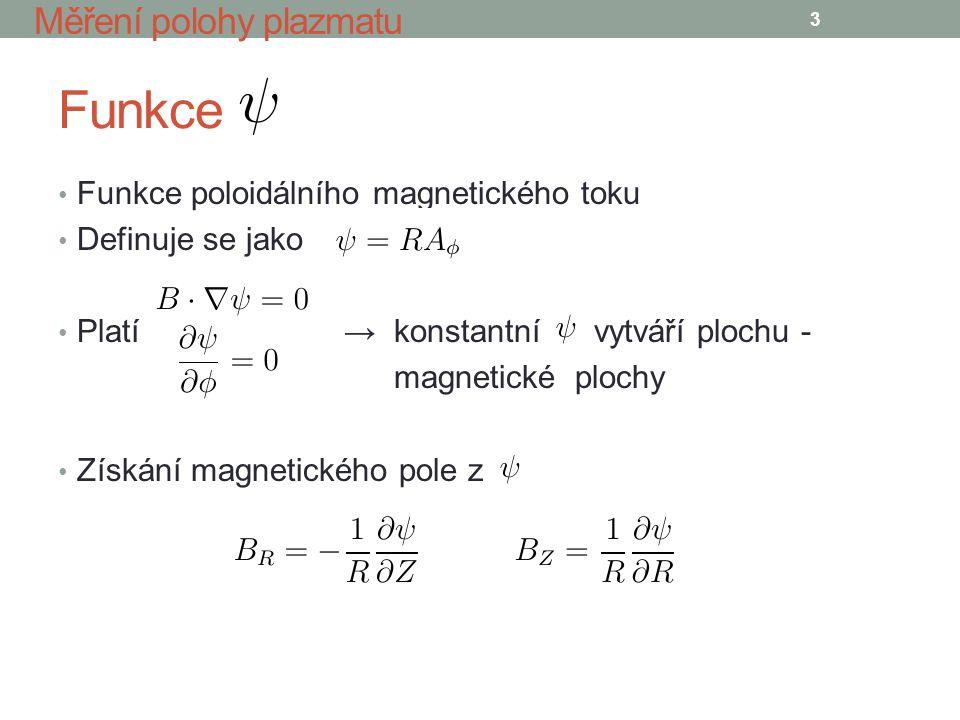 Funkce Funkce poloidálního magnetického toku Definuje se jako Platí → konstantní vytváří plochu - magnetické plochy Získání magnetického pole z 3 Měření polohy plazmatu