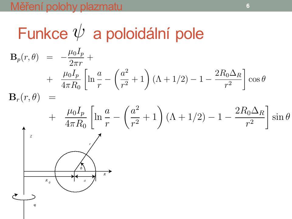 Vertikální poloha 7 Měření polohy plazmatu Poloidální pole nad a pod plazmatem Vertikální poloha plazmatu