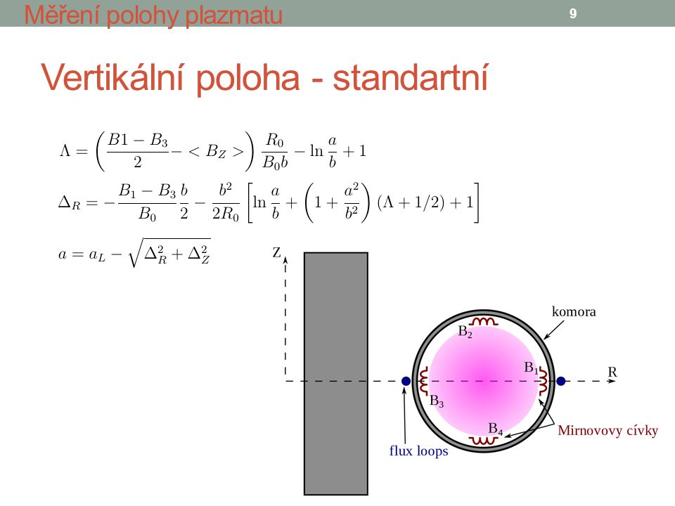 Vertikální poloha - standartní 9 Měření polohy plazmatu