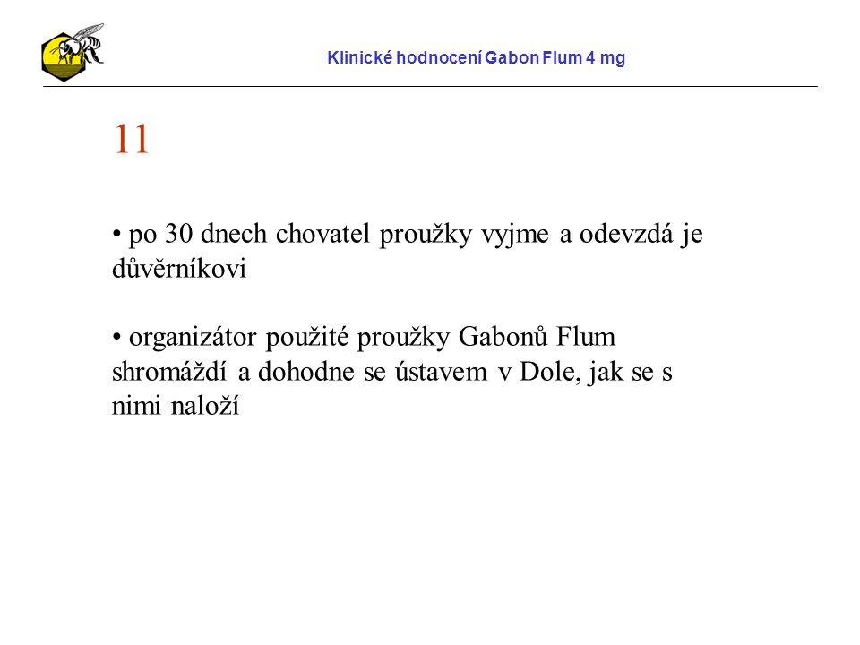 Klinické hodnocení Gabon Flum 4 mg 11 po 30 dnech chovatel proužky vyjme a odevzdá je důvěrníkovi organizátor použité proužky Gabonů Flum shromáždí a