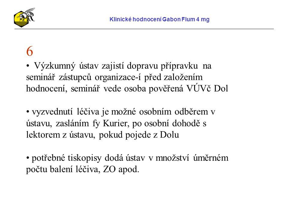 """Klinické hodnocení Gabon Flum 4 mg 7 důvěrníci zajistí správnou aplikaci přípravků u jednotlivých včelařů zajistí podepsání souhlasu chovatele – je možnost, že souhlas chovatele podepíše Základní organizace s dovětkem """"Viz přiložený seznam a chovatel se podepíše na seznamu u svého jména, podepsané seznamy stačí odeslat na VÚVč Dol do 5.prosince Důvěrník vyplní za svou skupinu """"Formulář hodnocení u sledovaných parametrů , ten je nutné doručit do 10.listopadu na VÚVč Dol"""