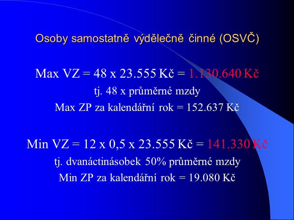 Osoby samostatně výdělečně činné (OSVČ) Max VZ = 48 x 23.555 Kč = 1.130.640 Kč tj. 48 x průměrné mzdy Max ZP za kalendářní rok = 152.637 Kč Min VZ = 1