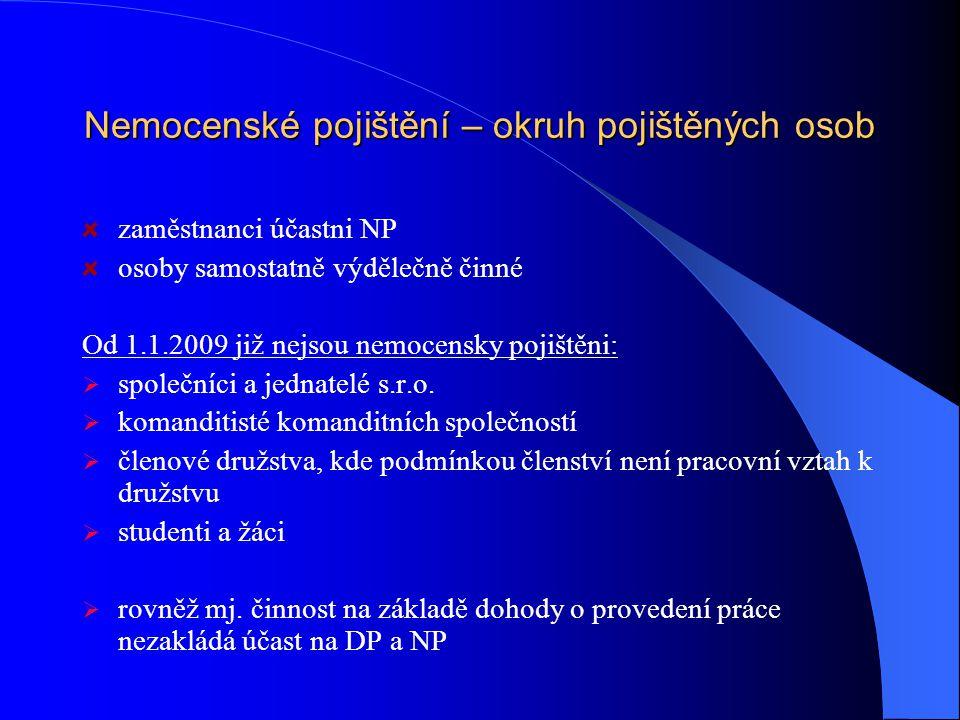 Nemocenské pojištění – okruh pojištěných osob zaměstnanci účastni NP osoby samostatně výdělečně činné Od 1.1.2009 již nejsou nemocensky pojištěni:  s