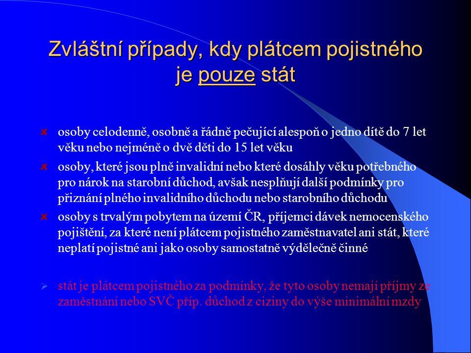 Osoby bez zdanitelných příjmů (OBZP) pojištěnec s trvalým pobytem v ČR, za kterého není po celý kalendářní měsíc plátcem pojistného ani zaměstnavatel, ani stát, ani pojištěnec sám není plátcem pojistného jako OSVČ Např.:  žena v domácnosti, kdy za ni není plátcem stát z jiného důvodu  student, který studuje na škole, která nebyla Ministerstvem školství označena jako soustavná příprava na budoucí povolání (některé jazykové školy, většina škol v cizině atd.), případně student starší 26 let  zaměstnanec, který pracuje jen na dohody o provedení práce  nezaměstnaný, který není v evidenci úřadu práce  pojištěnec, který má jen takové příjmy, které nepodléhají dani z příjmů nebo jsou zdaňovány jen podle § 8, 9 nebo 10 ZDZP  student, který po ukončení školy nenastoupí ihned po prázdninách do zaměstnání nebo nezačne podnikat  osoba, která ukončí pracovní poměr a nestane se nejpozději v nejbližším kalendářním měsíci zaměstnancem a nemá příjmy ze SVČ, ani za ni není plátcem pojistného stát  chovanec psychiatrické léčebny, který nepobírá žádný důchod