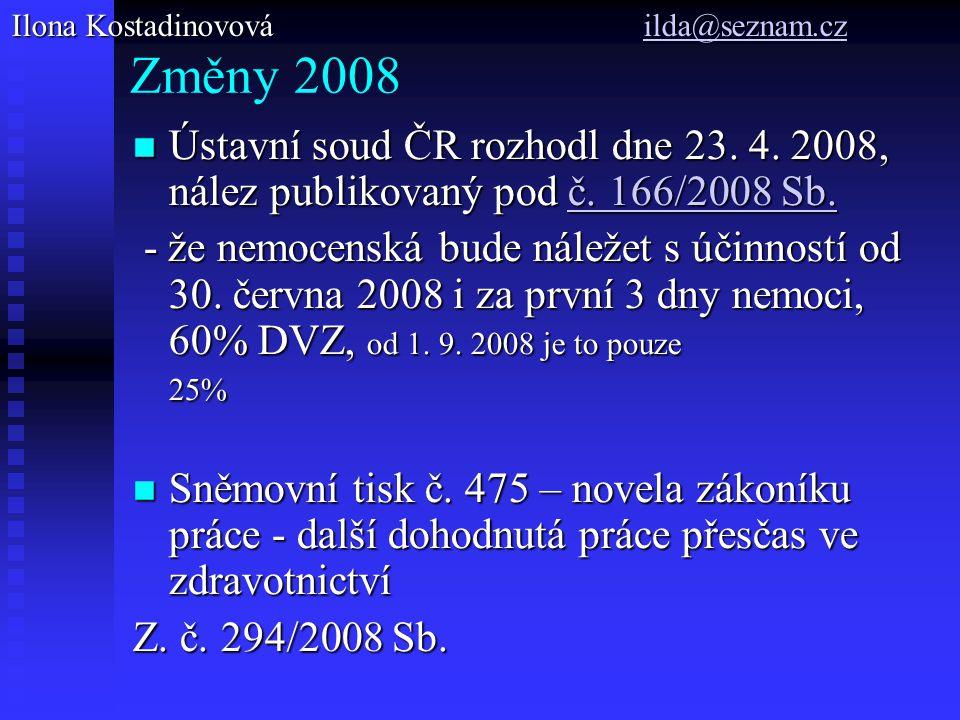 Změny 2008 Ústavní soud ČR rozhodl dne 23. 4. 2008, nález publikovaný pod č. 166/2008 Sb. Ústavní soud ČR rozhodl dne 23. 4. 2008, nález publikovaný p