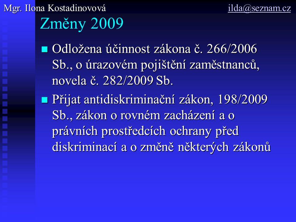 Změny 2009 Odložena účinnost zákona č. 266/2006 Sb., o úrazovém pojištění zaměstnanců, novela č. 282/2009 Sb. Odložena účinnost zákona č. 266/2006 Sb.