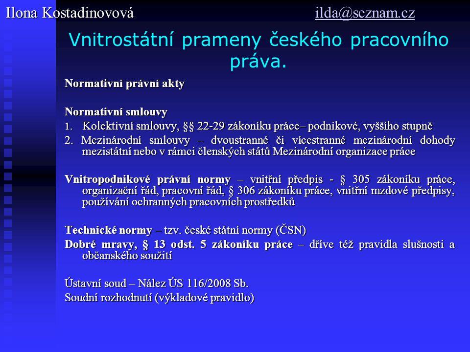 Vnitrostátní prameny českého pracovního práva. Normativní právní akty Normativní smlouvy 1. Kolektivní smlouvy, §§ 22-29 zákoníku práce– podnikové, vy