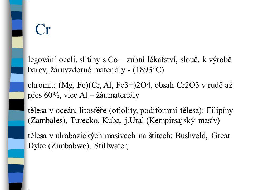 Cr legování ocelí, slitiny s Co – zubní lékařství, slouč. k výrobě barev, žáruvzdorné materiály - (1893°C) chromit: (Mg, Fe)(Cr, Al, Fe3+)2O4, obsah C