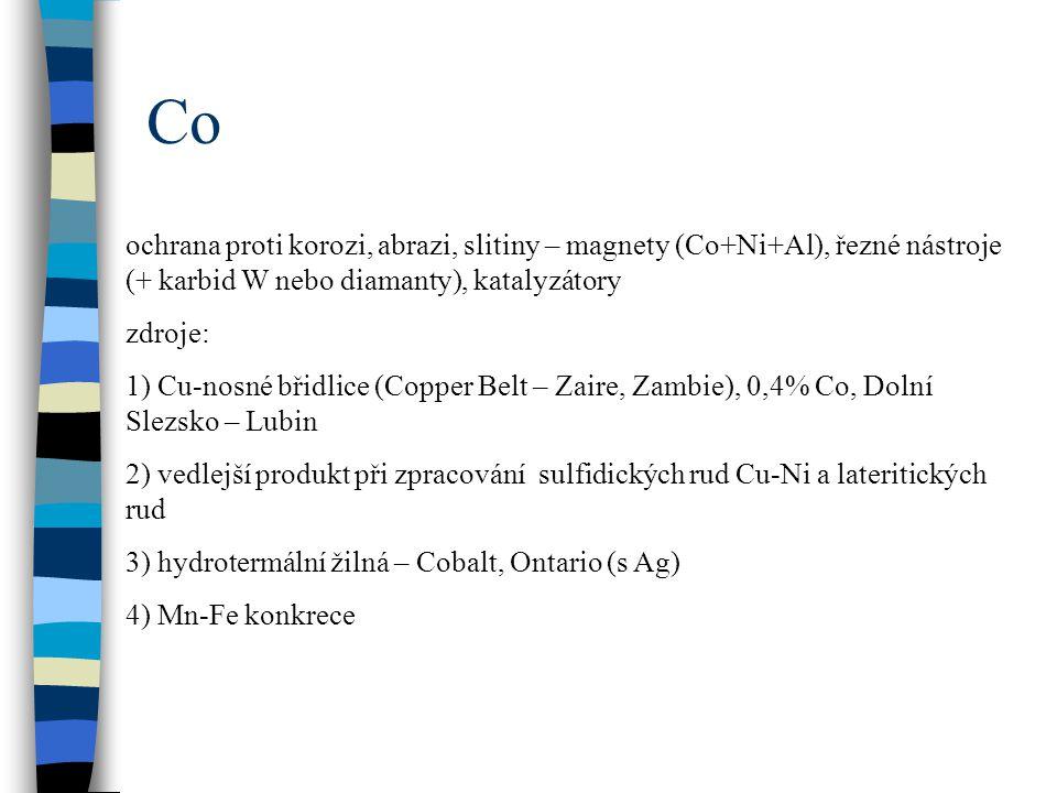 Co ochrana proti korozi, abrazi, slitiny – magnety (Co+Ni+Al), řezné nástroje (+ karbid W nebo diamanty), katalyzátory zdroje: 1) Cu-nosné břidlice (C