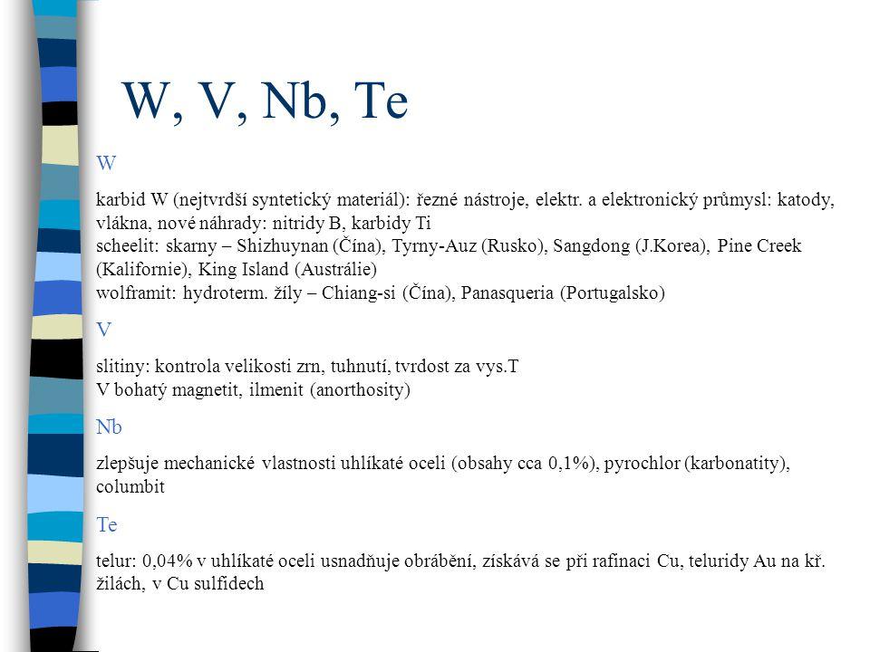 W, V, Nb, Te W karbid W (nejtvrdší syntetický materiál): řezné nástroje, elektr. a elektronický průmysl: katody, vlákna, nové náhrady: nitridy B, karb