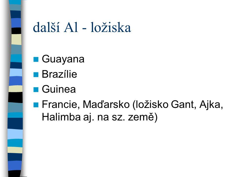 další Al - ložiska Guayana Brazílie Guinea Francie, Maďarsko (ložisko Gant, Ajka, Halimba aj. na sz. země)