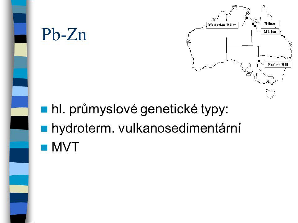 Pb-Zn hl. průmyslové genetické typy: hydroterm. vulkanosedimentární MVT