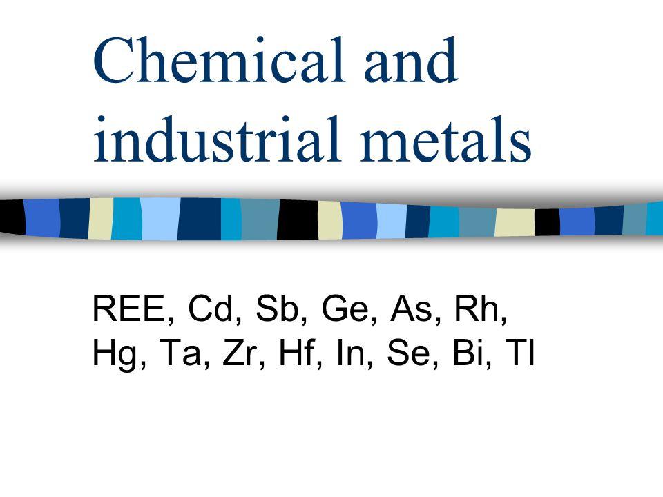 Chemical and industrial metals REE, Cd, Sb, Ge, As, Rh, Hg, Ta, Zr, Hf, In, Se, Bi, Tl