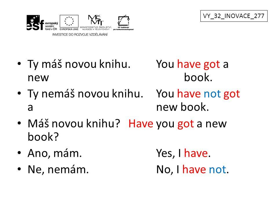 Ty máš novou knihu.You have got a new book. Ty nemáš novou knihu.You have not got a new book. Máš novou knihu?Have you got a new book? Ano, mám.Yes, I