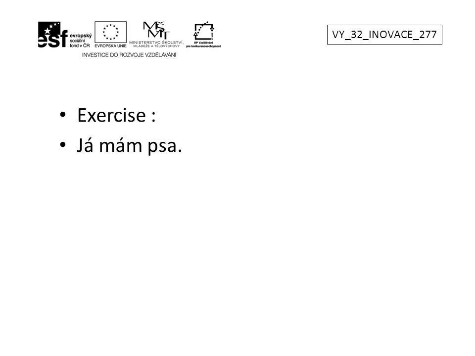 Exercise : Já mám psa. VY_32_INOVACE_277