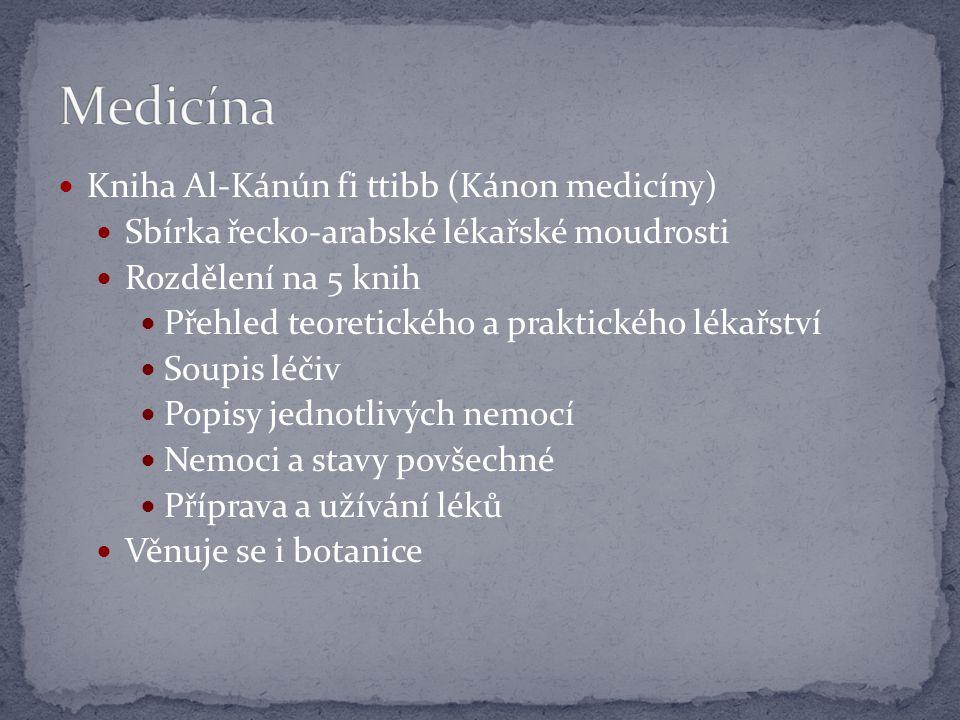 Kniha Al-Kánún fi ttibb (Kánon medicíny) Sbírka řecko-arabské lékařské moudrosti Rozdělení na 5 knih Přehled teoretického a praktického lékařství Soupis léčiv Popisy jednotlivých nemocí Nemoci a stavy povšechné Příprava a užívání léků Věnuje se i botanice