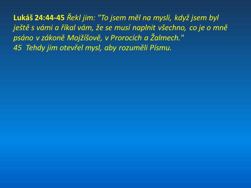 Lukáš 24:44-45 Řekl jim: