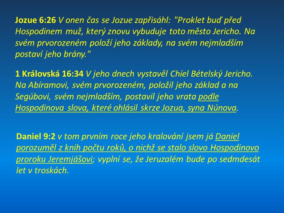 Jozue 6:26 V onen čas se Jozue zapřisáhl: