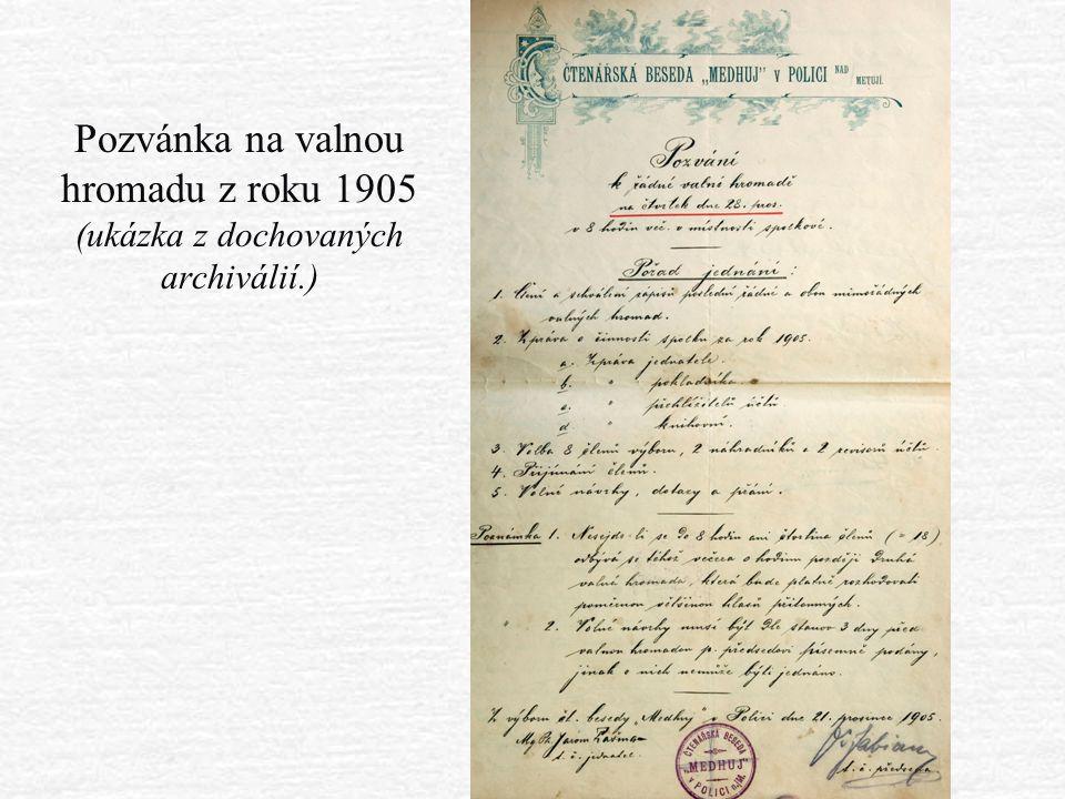 Pozvánka na valnou hromadu z roku 1905 (ukázka z dochovaných archiválií.)