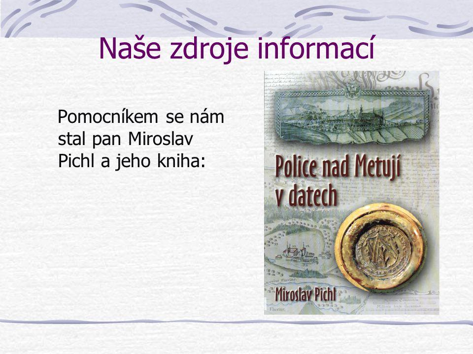 Naše zdroje informací Pomocníkem se nám stal pan Miroslav Pichl a jeho kniha:
