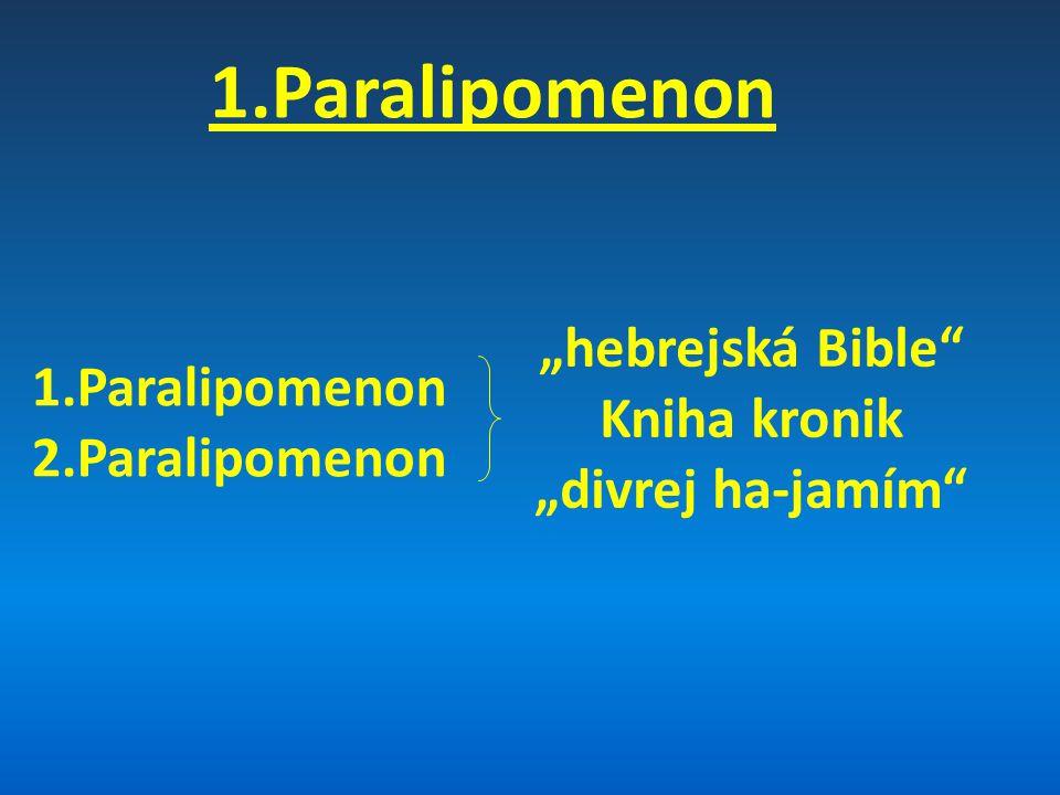 STARÝ ZÁKON MOJŽÍŠŮV ZÁKON (PENTATEUCH) Genesis Exodus Leviticus Numeri Deuteronomium HISTORICKÉ KNIHY Jozue Soudců Rút 1.Samuelova 2.Samuelova 1.Královská 2.Královská 1.Paralipomenon 2.Paralipomenon Ezdráš Nehemjáš Ester PROROCKÉ KNIHY (velcí) Izajáš Jeremjáš Pláč Ezechiel Daniel (malí) Ozeáš Jóel Ámos Abdiáš Jonáš Micheáš Nahum Abakuk Sofonjáš Ageus Zacharjáš Malachiáš 39 KNIH POEZIE Jób Žalmy Přísloví Kazatel Píseň písní