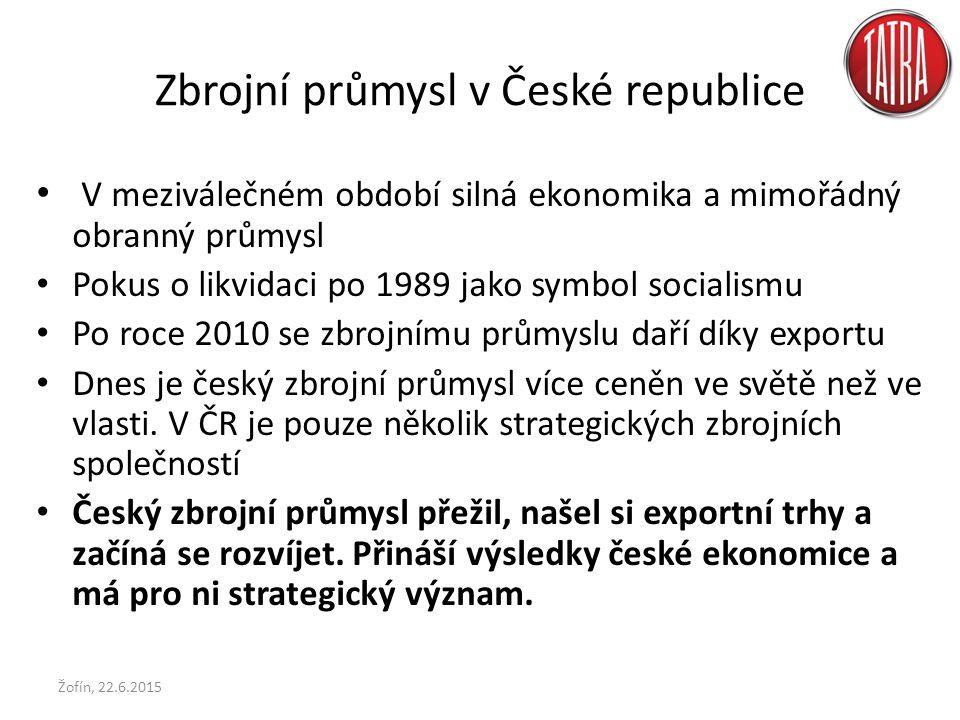 Zbrojní průmysl v České republice V meziválečném období silná ekonomika a mimořádný obranný průmysl Pokus o likvidaci po 1989 jako symbol socialismu Po roce 2010 se zbrojnímu průmyslu daří díky exportu Dnes je český zbrojní průmysl více ceněn ve světě než ve vlasti.