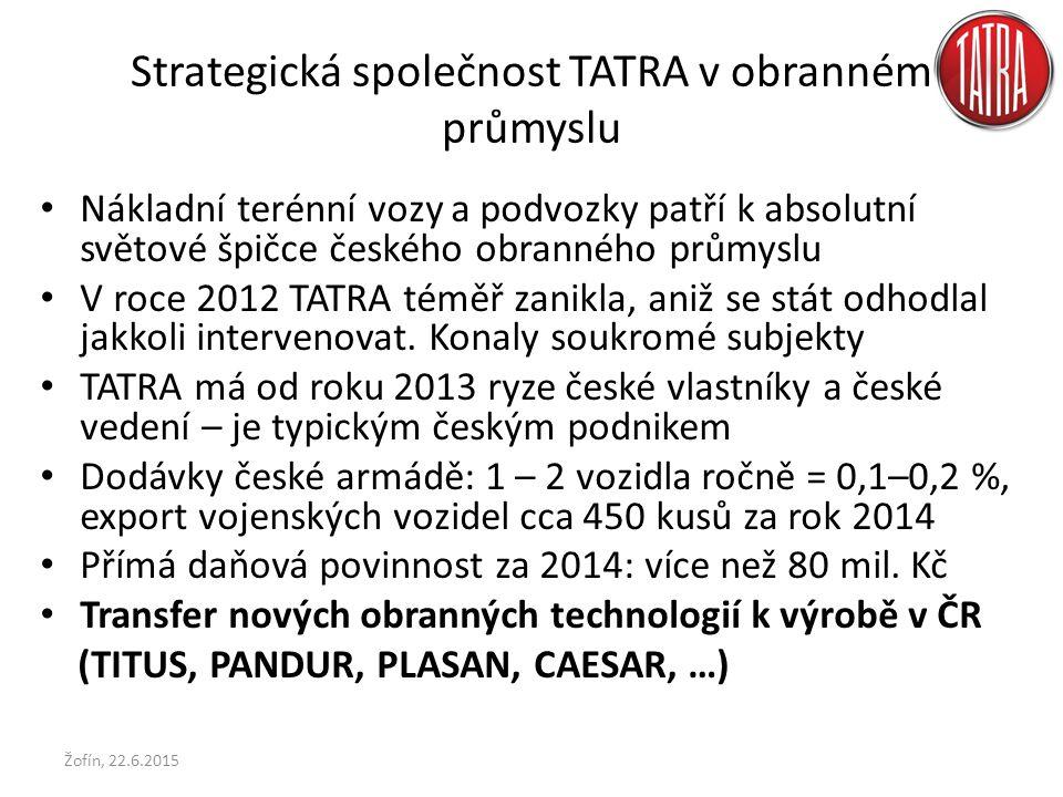 Strategická společnost TATRA v obranném průmyslu Nákladní terénní vozy a podvozky patří k absolutní světové špičce českého obranného průmyslu V roce 2012 TATRA téměř zanikla, aniž se stát odhodlal jakkoli intervenovat.