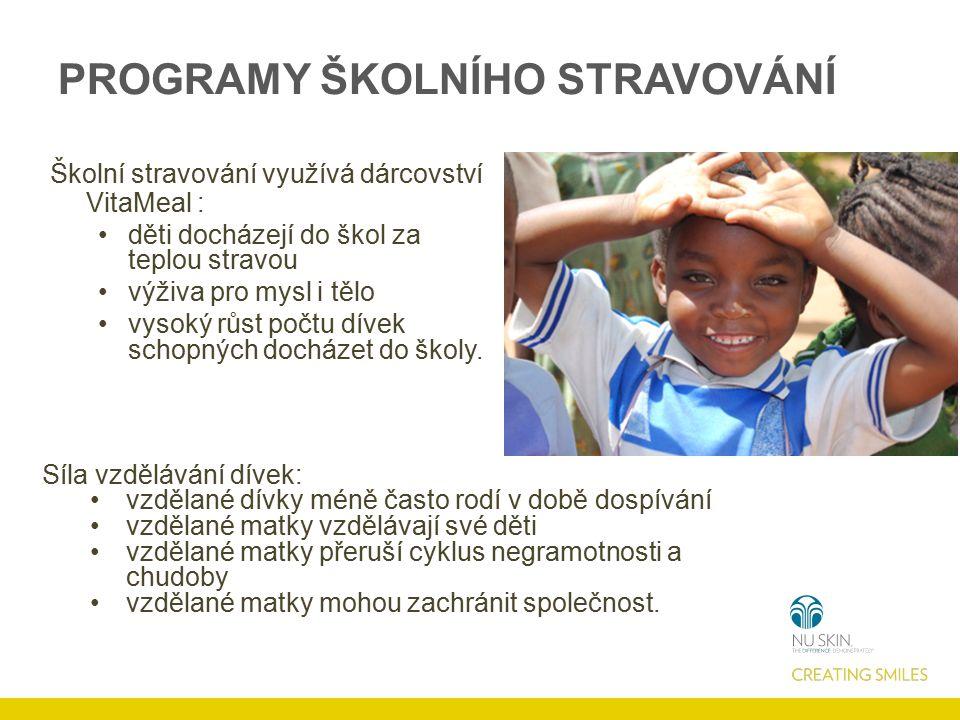 PROGRAMY ŠKOLNÍHO STRAVOVÁNÍ Školní stravování využívá dárcovství VitaMeal : děti docházejí do škol za teplou stravou výživa pro mysl i tělo vysoký růst počtu dívek schopných docházet do školy.