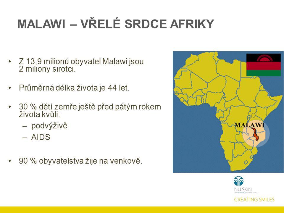 Z 13,9 milionů obyvatel Malawi jsou 2 miliony sirotci. Průměrná délka života je 44 let. 30 % dětí zemře ještě před pátým rokem života kvůli: –podvýživ