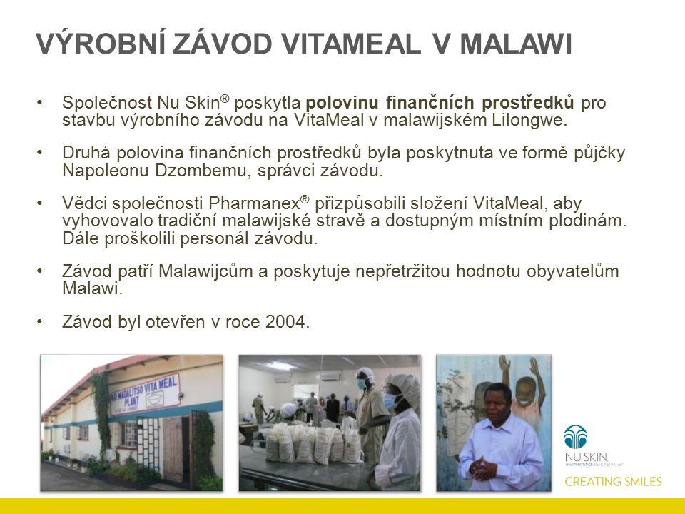 VÝROBNÍ ZÁVOD VITAMEAL V MALAWI Společnost Nu Skin ® poskytla polovinu finančních prostředků pro stavbu výrobního závodu na VitaMeal v malawijském Lil