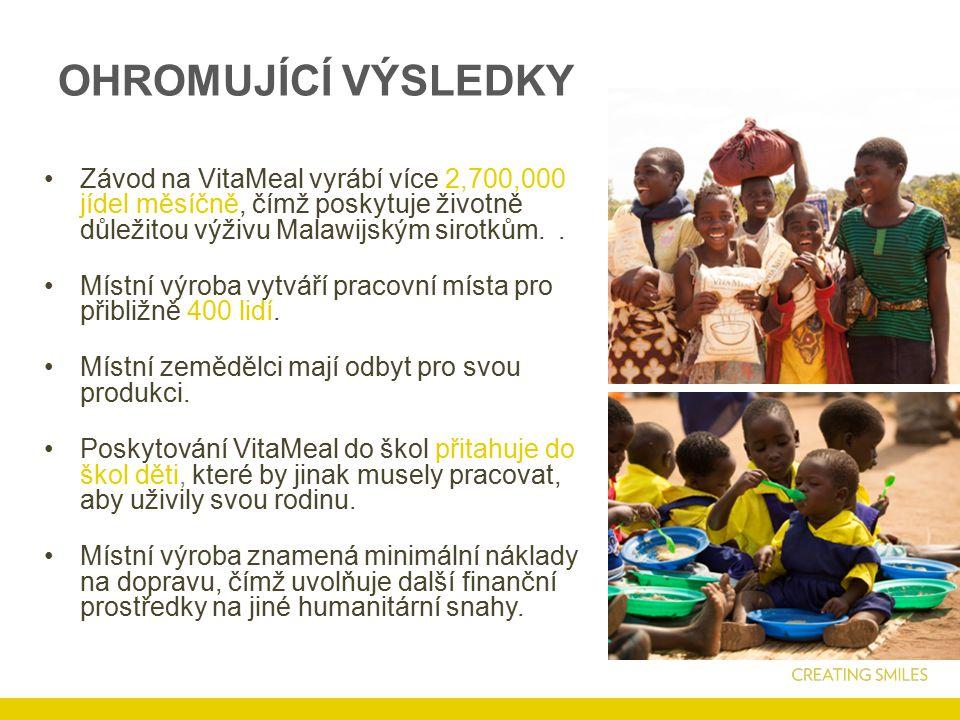 OHROMUJÍCÍ VÝSLEDKY Závod na VitaMeal vyrábí více 2,700,000 jídel měsíčně, čímž poskytuje životně důležitou výživu Malawijským sirotkům..