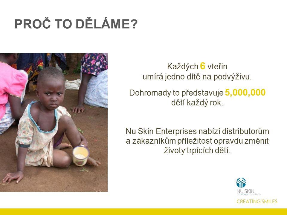 PROČ TO DĚLÁME. Každých 6 vteřin umírá jedno dítě na podvýživu.