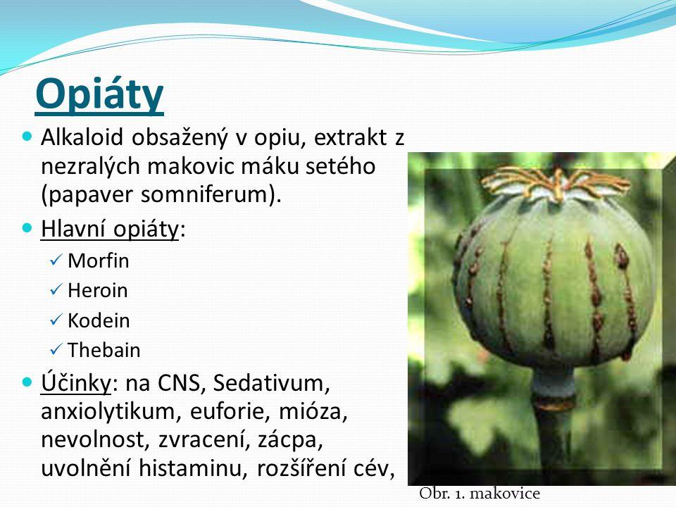 Opiáty Alkaloid obsažený v opiu, extrakt z nezralých makovic máku setého (papaver somniferum).