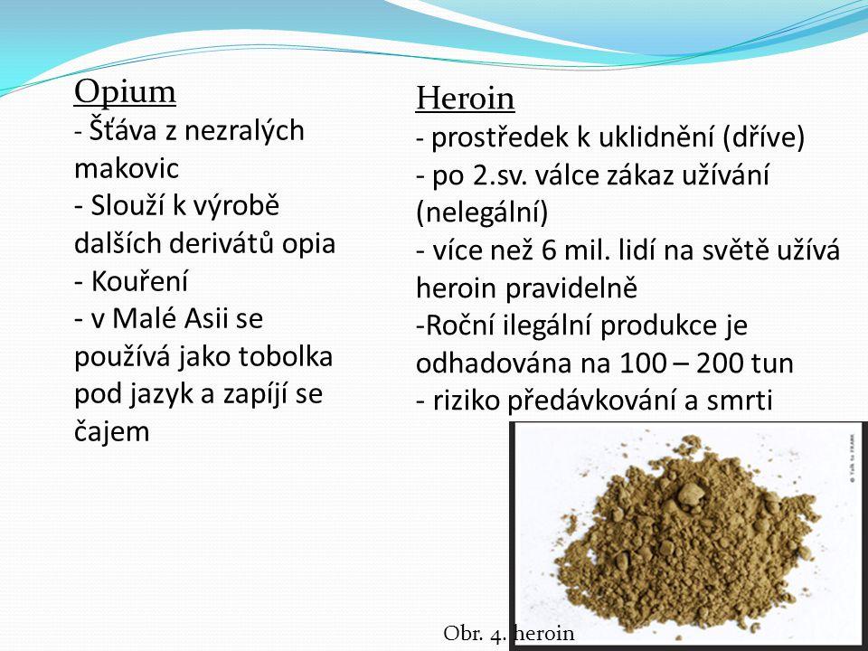 Opium - Šťáva z nezralých makovic - Slouží k výrobě dalších derivátů opia - Kouření - v Malé Asii se používá jako tobolka pod jazyk a zapíjí se čajem