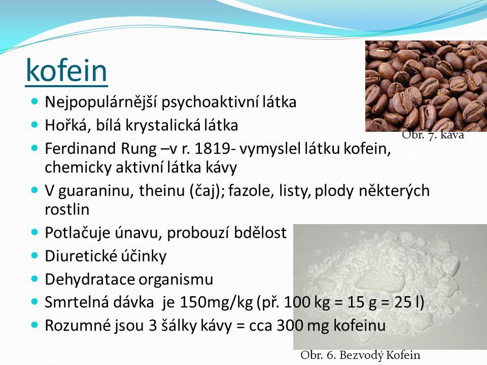 kofein Nejpopulárnější psychoaktivní látka Hořká, bílá krystalická látka Ferdinand Rung –v r. 1819- vymyslel látku kofein, chemicky aktivní látka kávy