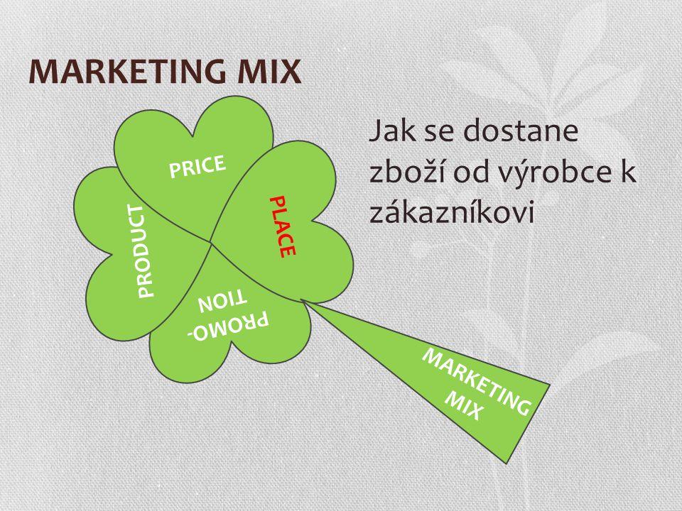 MARKETING MIX PROMO- TION PRODUCT PRICE PLACE MARKETING MIX Jak se dostane zboží od výrobce k zákazníkovi