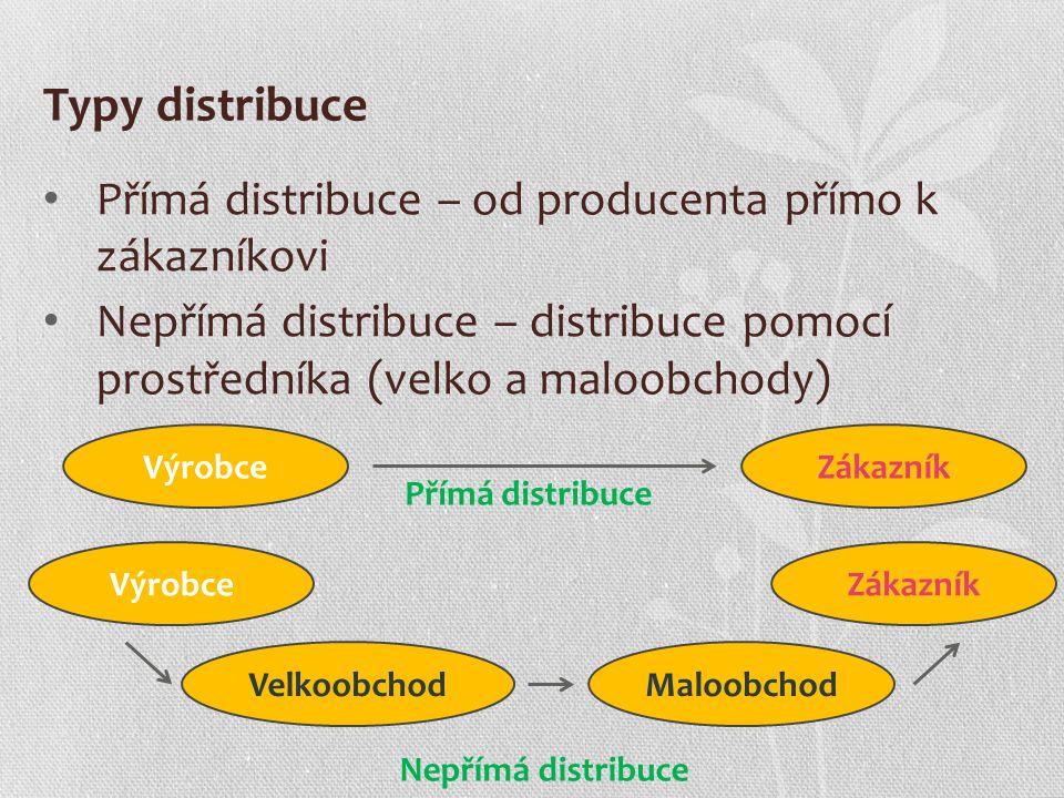 Typy distribuce Přímá distribuce – od producenta přímo k zákazníkovi Nepřímá distribuce – distribuce pomocí prostředníka (velko a maloobchody) VýrobceZákazník Přímá distribuce VýrobceZákazník Nepřímá distribuce VelkoobchodMaloobchod